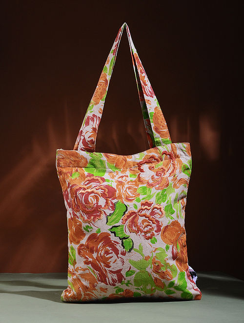 Beige-Orange Embroidered Cotton Tote Bag