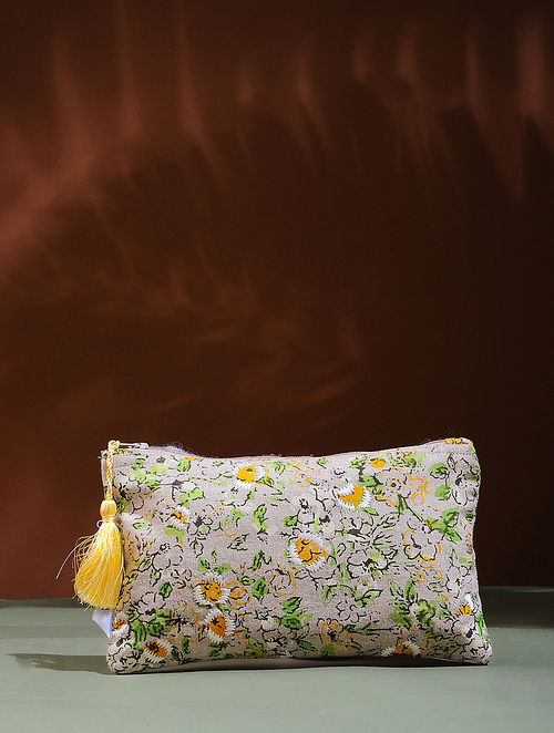 Beige-Yellow Embroidered Cotton Pouch