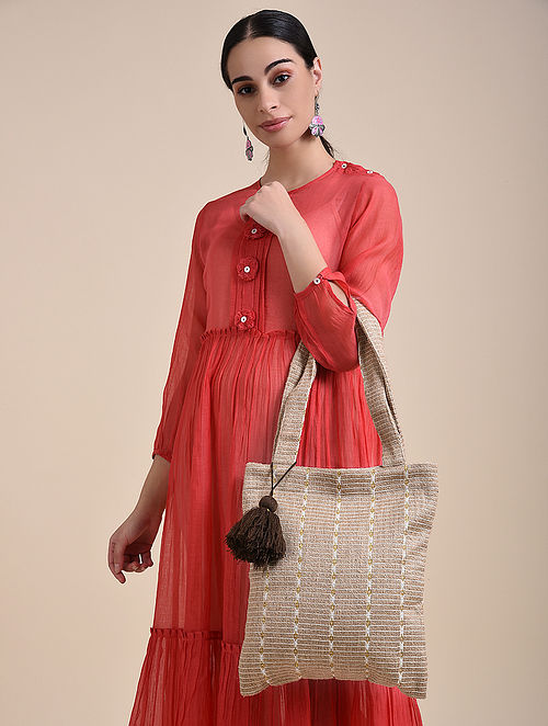 Beige Handcrafted Jute Cotton Tote Bag with Tassels