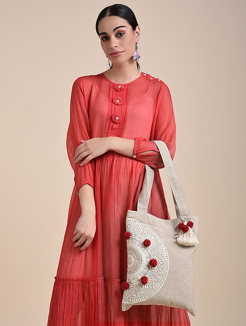 Beige Red Handcrafted Embroidered Cotton Tote Bag with Tassels