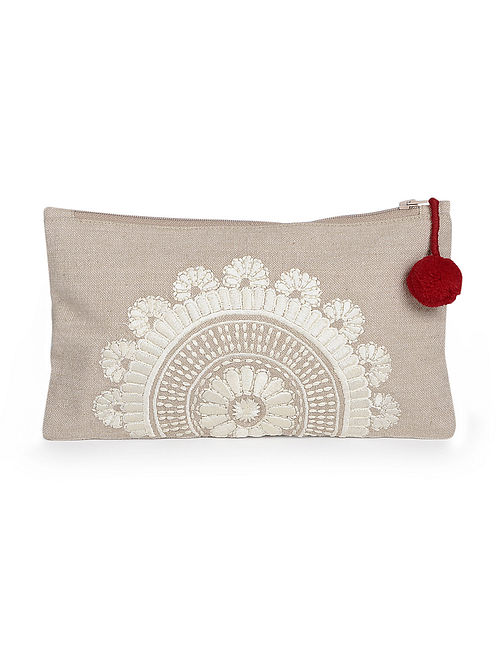 Beige Handcrafted Embroidered Cotton Pouch with Pom Pom