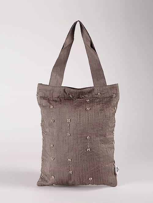 Brown Poly Dupion Silk Tote Bag