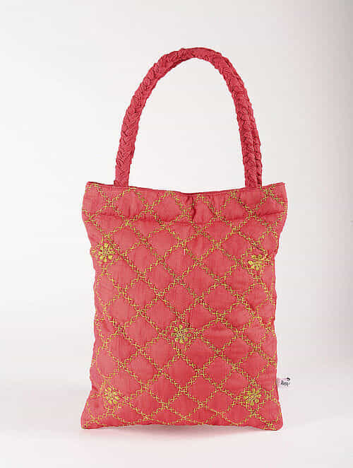 Red Poly Dupion Silk Tote Bag