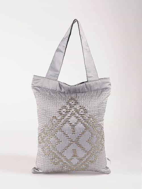 Grey Poly Dupion Silk Tote Bag