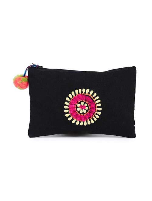 Black Handcrafted Cotton Pouch