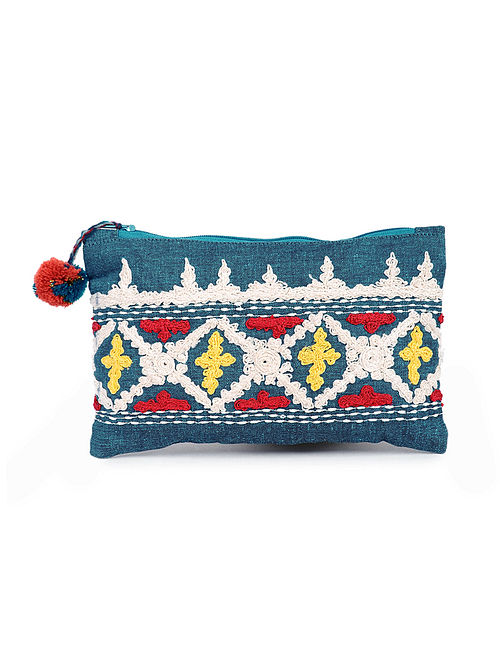 Teal Handcrafted Cotton Pouch