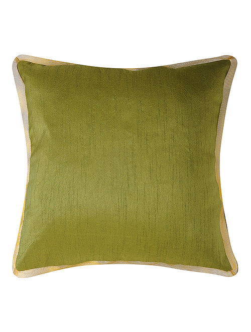 Olive Dupion Silk Cushion Cover (16in x 16in)