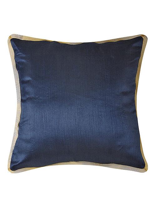Navy Dupion Silk Cushion Cover (16in x 16in)