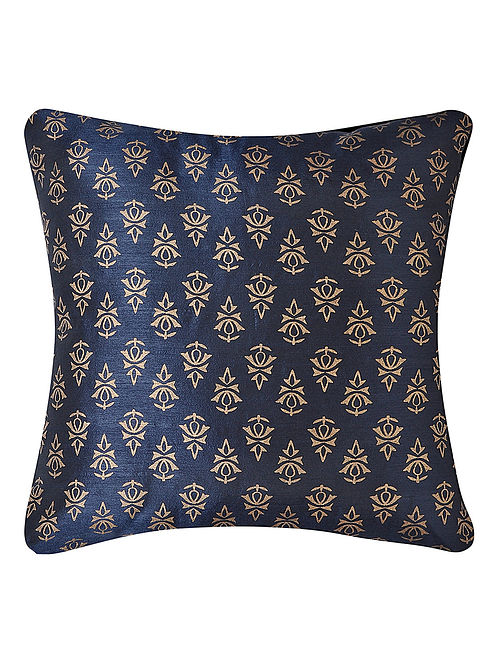 Navy-Golden Printed Dupion Silk Cushion Cover (16in x 16in)