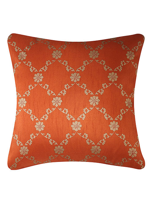 Rust-Golden Printed Dupion Silk Cushion Cover (16in x 16in)