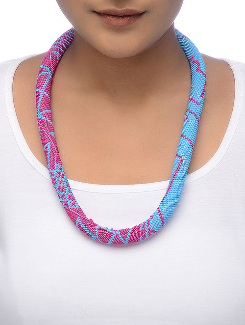Pink-Blue Beaded Necklace