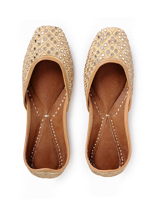 Beige Handcrafted Silk and Leather Juttis with Mirrors