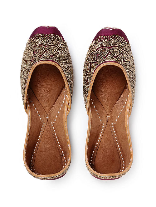 Purple Handcrafted Embroidered Silk and Leather Juttis