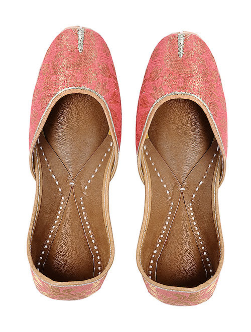 Peach Handcrafted Brocade Silk and Leather Jutti