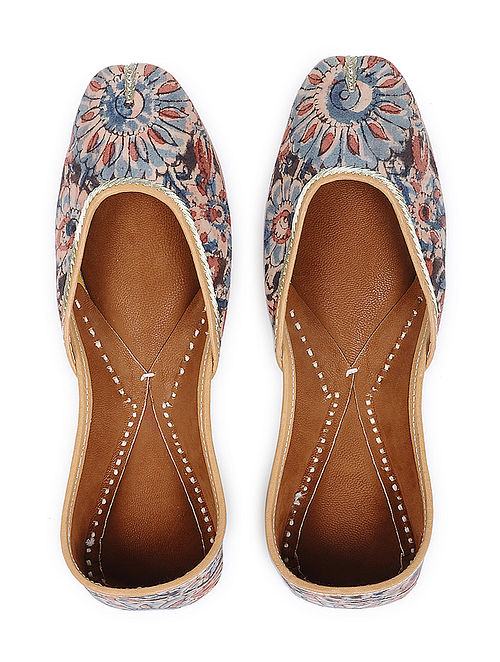 Blue-Red Handcrafted Cotton Juttis