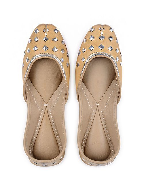 Tan Handcrafted Mukaish Leather Juttis