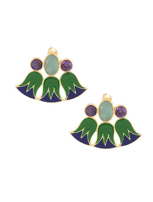 Aqua Chalcedony Enameled Gold Tone Silver Earrings