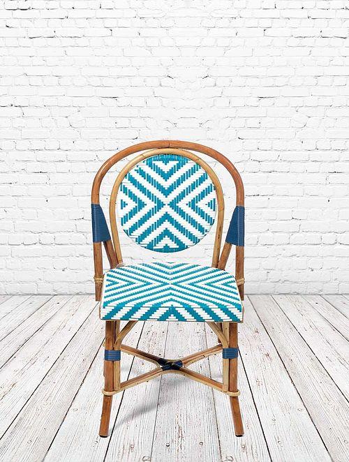 Parisian Bistro Blue-Multicolor Rattan and Wicker Chair (L- 22in, W- 23in, H- 34in)