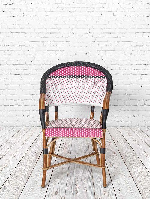 Parisian Bistro Pink-Multicolor Rattan and Wicker Chair (L- 22in, W- 23in, H- 34in)