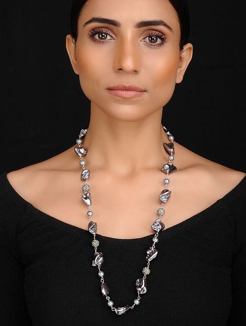 Grey Handcrafted Baroque Pearl and Shell Pearl Beaded Necklace