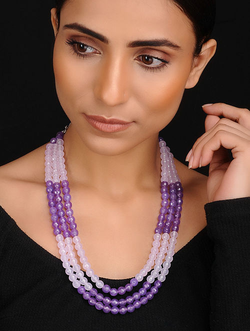 Purple White Handcrafted Jade and Quartz Beaded Necklace