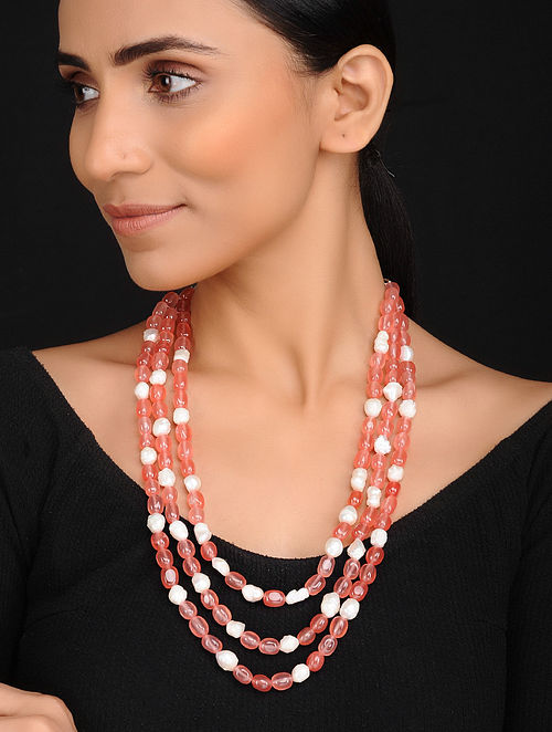 Peach White Handcrafted Jade and Baroque Fresh Water Pearl Beaded Necklace