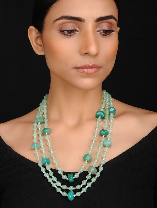 Green White Handcrafted Jade and Onyx Beaded Necklace