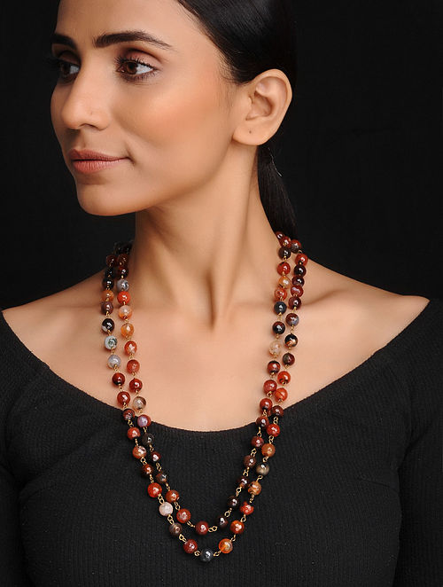 Brown Handcrafted Onyx Beaded Necklace
