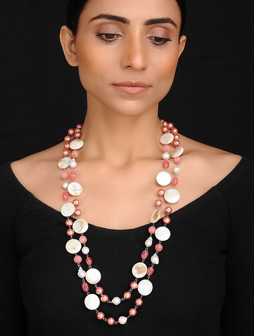 Peach White Handcrafted Jade Quartz Shell Pearl and Mother of Pearl Beaded Necklace