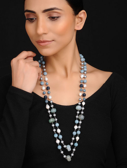 Blue Grey Handcrafted Shell Pearl Jade Onyx and Baroque Pearl Beaded Necklace
