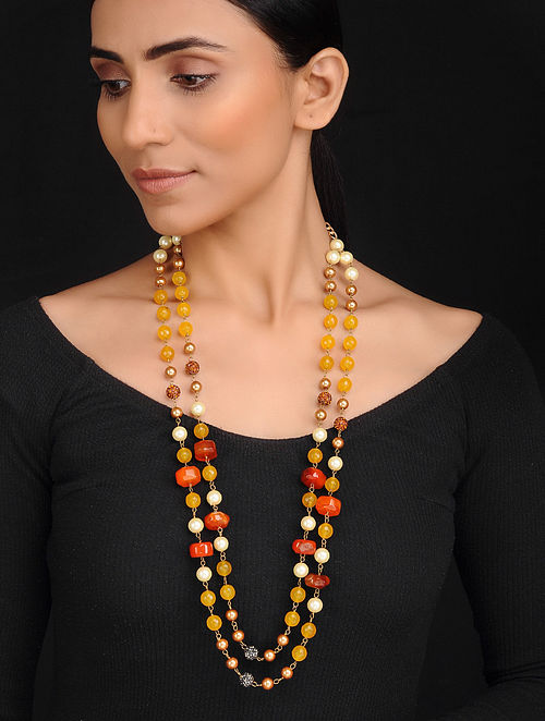 Orange Yellow Handcrafted Jade Quartz Onyx and Shell Pearl Beaded Necklace