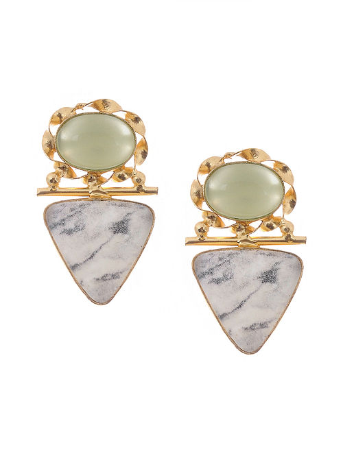 Green Grey Gold Tone Handcrafted Earrings