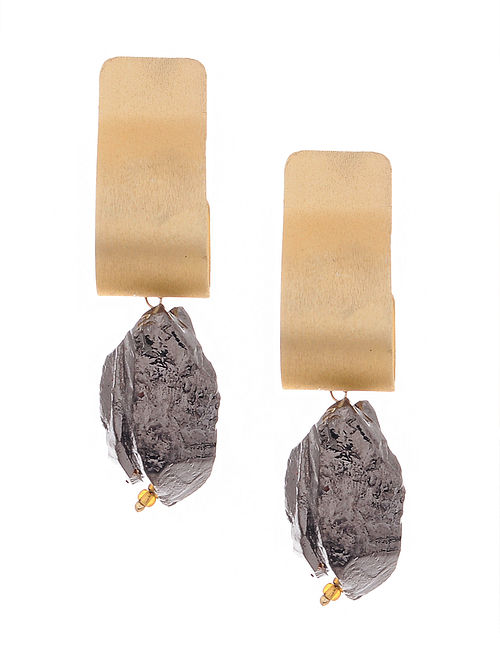 Grey Gold Tone Handcrafted Earrings