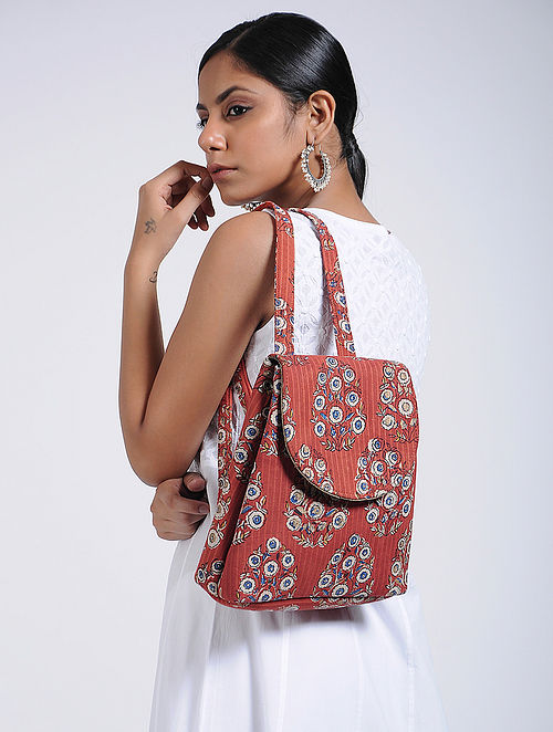 Red-White Handcrafted Cotton Backpack