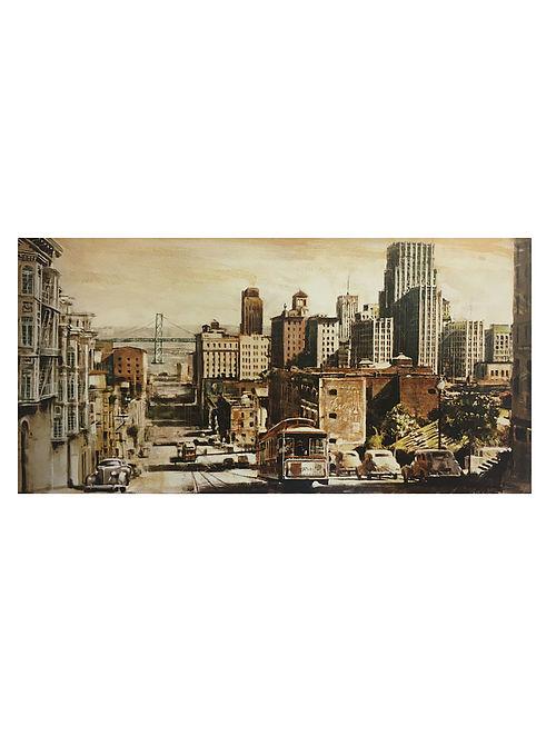 San Francisco View to Bay Bridge Print on Canvas - Matthew Daniels