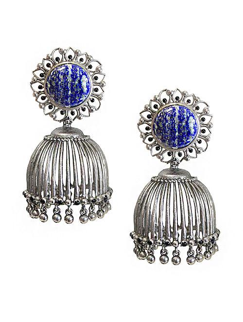 Blue Silver Tone Enameled Lapis Lazuli Brass Jhumkis