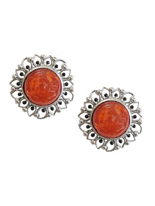 35bd77e0b786a Buy Orange Silver Tone Enameled Carnelian Brass Stud Earrings Online at  Jaypore.com
