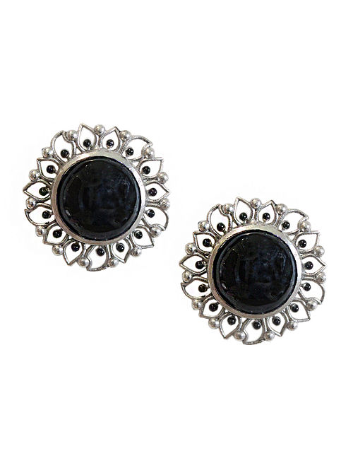 Black Silver Tone Enameled Onyx Brass Stud Earrings
