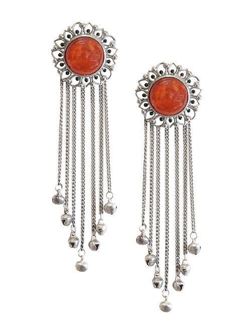 Orange Silver Tone Enameled Carnelian Brass Stud Earrings with Ghungroo