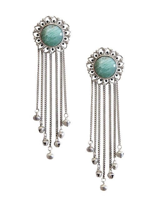 Green Silver Tone Enameled Aventurine Brass Stud Earrings with Ghungroo