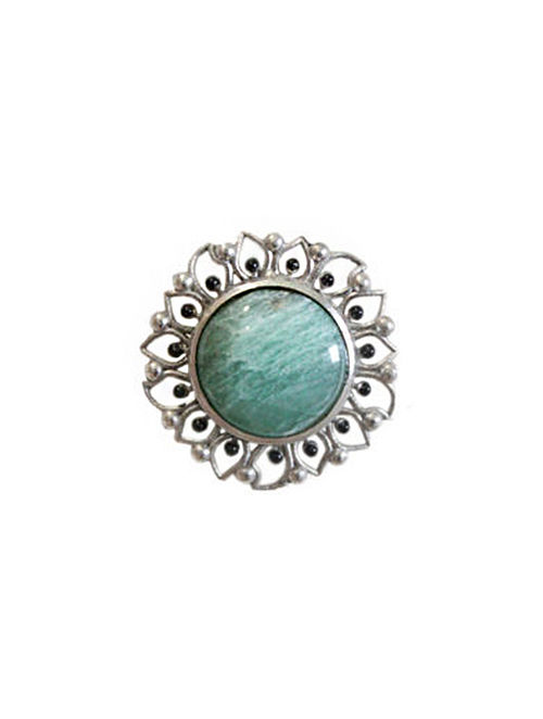 Green Silver Tone Enameled Aventurine Brass Ring