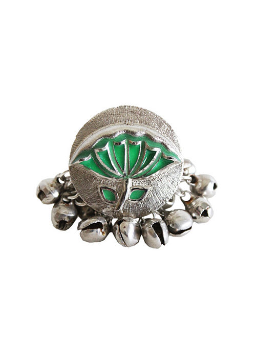 376c9616233fa Buy Green Silver Tone Brass Ring With Ghunghroo Online at Jaypore.com