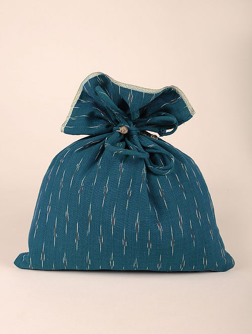Teal Handcrafted Cotton Ikat Potli