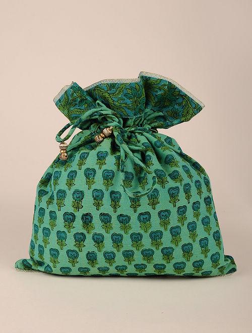 Green Handcrafted Block Print Potli