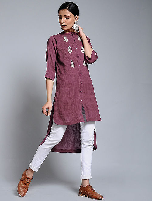 e1f28fb0d49 Buy Wine Hand-embroidered Crinkled Cotton Tunic Online at Jaypore ...