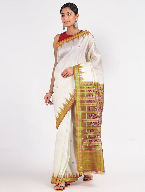 543522b1ea5937 Ivory-Green Ikat Silk Saree with Woven Border Woven Sarees