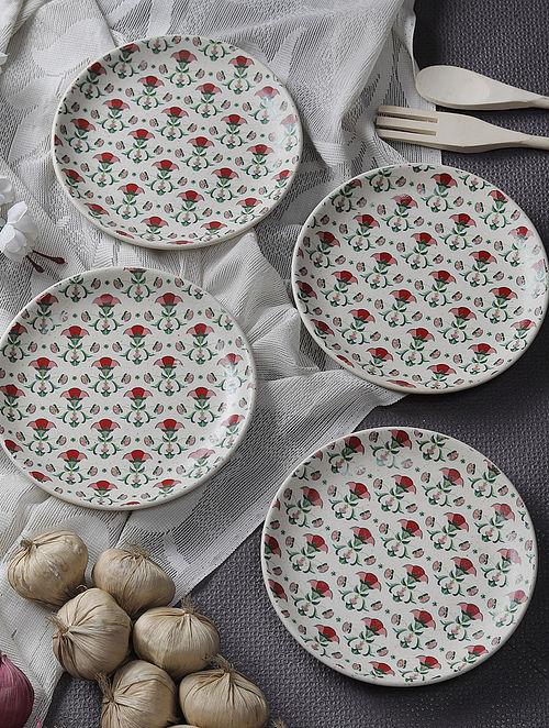 Multicolor Handcrafted Ceramic and Stoneware Quarter Plates (Set of 4)