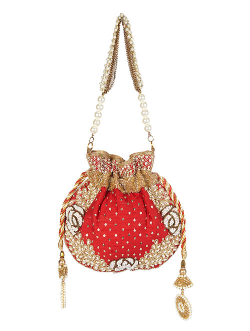 Red Gold Handcrafted Embroidered Raw Silk Potli with Pearls