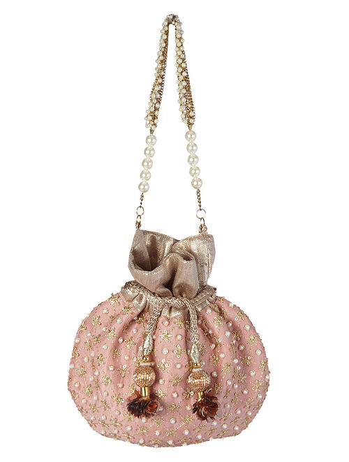 Pink Handcrafted Embroidered Silk Potli with Pearls