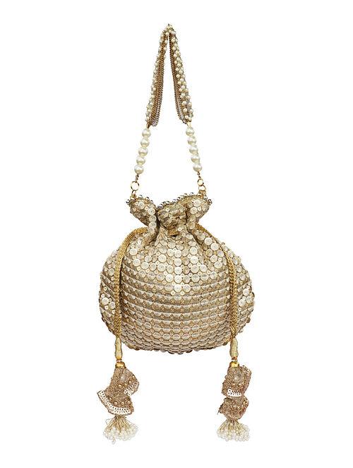Light Gold Handcrafted Net Potli